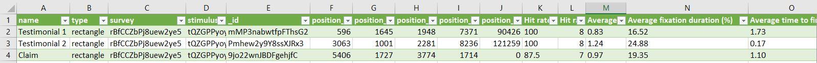 Beispiel AOI Daten Export in Excel