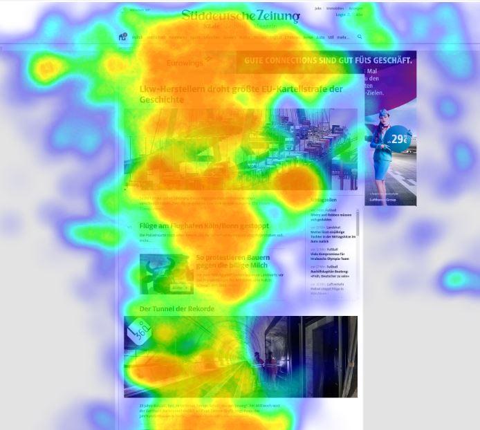 Heatmap Eye-Tracking-Auswertung auf Newsportal mit Werbeanzeige