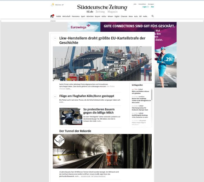 News-Portal mit eingefügter Werbeanzeige